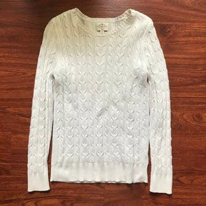 White Crew-Neck Cable-Knit Sweater